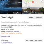 Web Age Google My Business Listing Knowledge Box