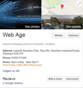 Web Age Google My Business Listing Knowledge Box