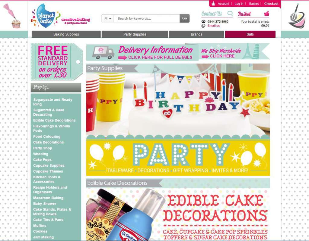 Planet Bake Magento Website Project