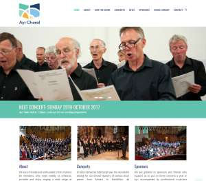 Ayr Choral Union website design for clubs and organisations
