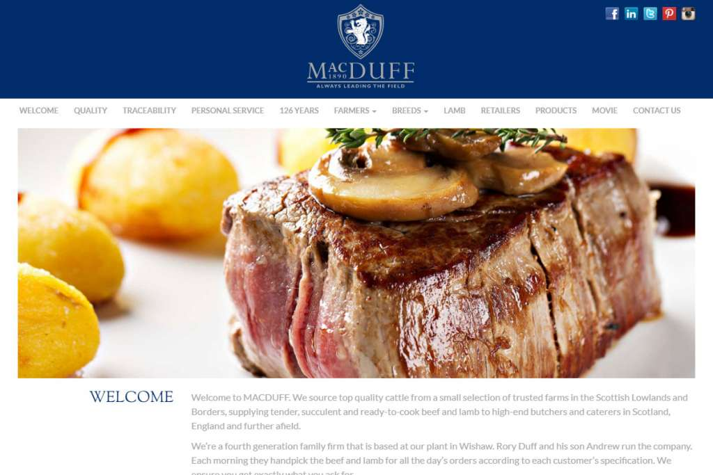 MACDUFF Beef bespoke WordPress theme design for Scottish meat wholesaler