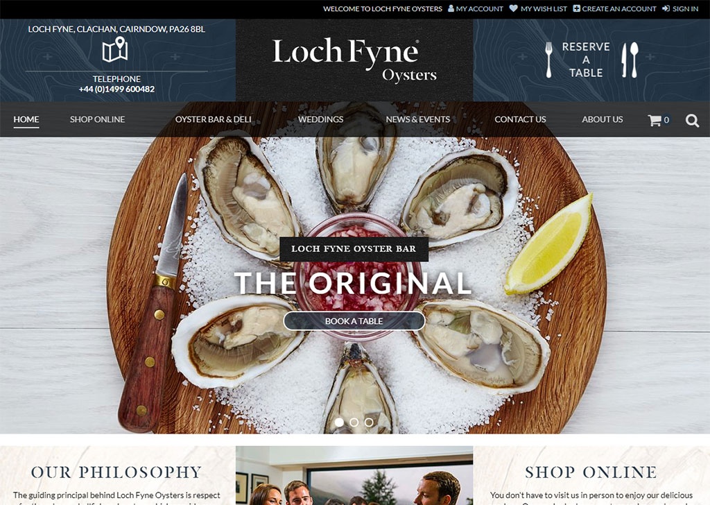 Loch Fyne Oysters Magento 2 site