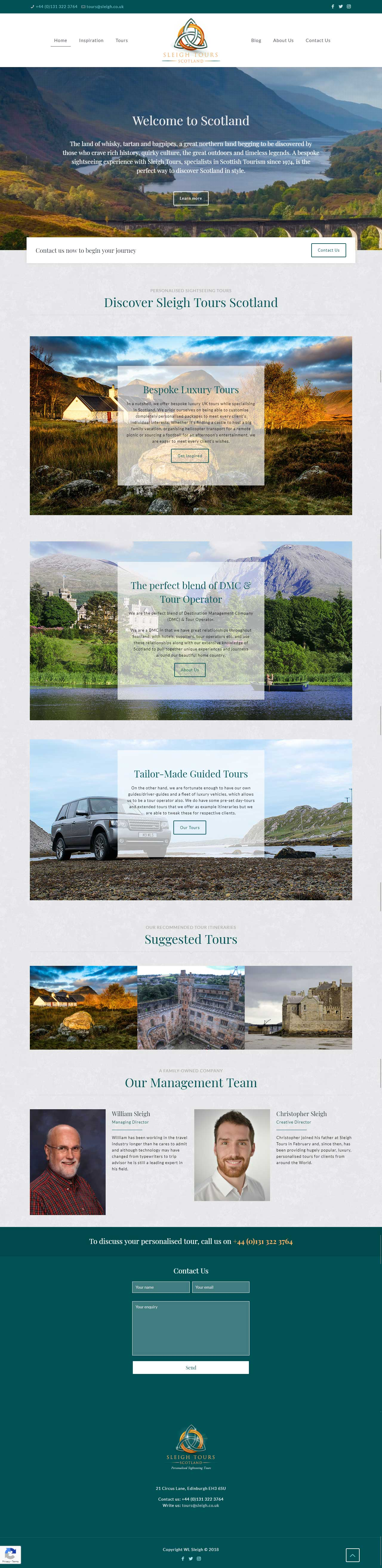 Sleigh Tours Scotland - website design screenshot
