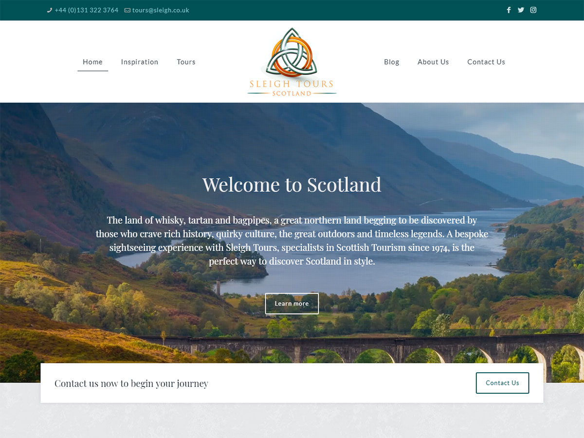 Sleigh Tours Scotland website design