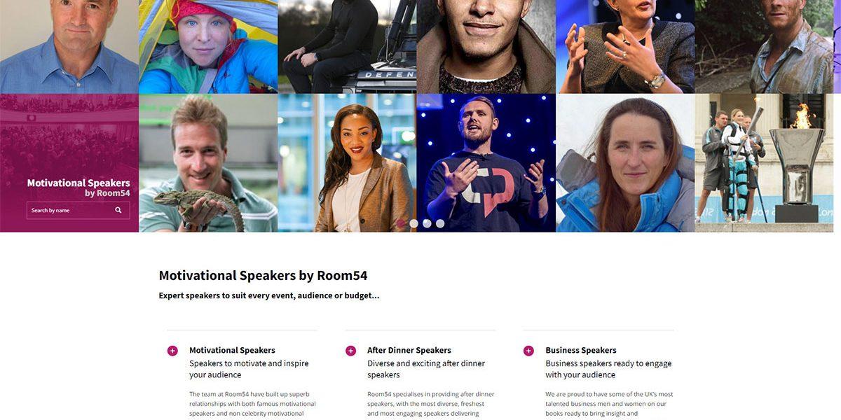 Website design for Room54 motivational-speakers.co.uk – keynote speaker agency