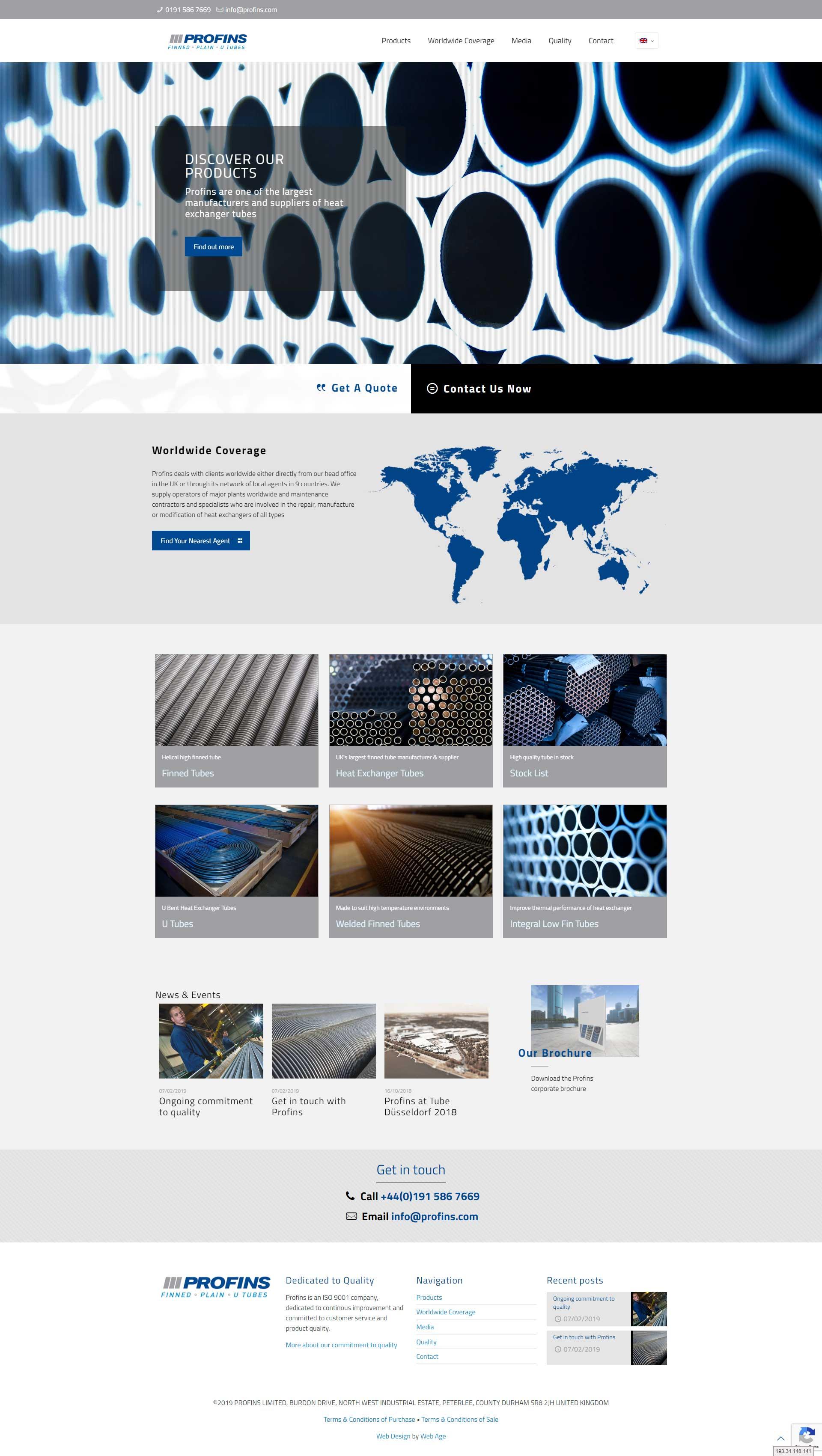 Profins - web design for industrial company