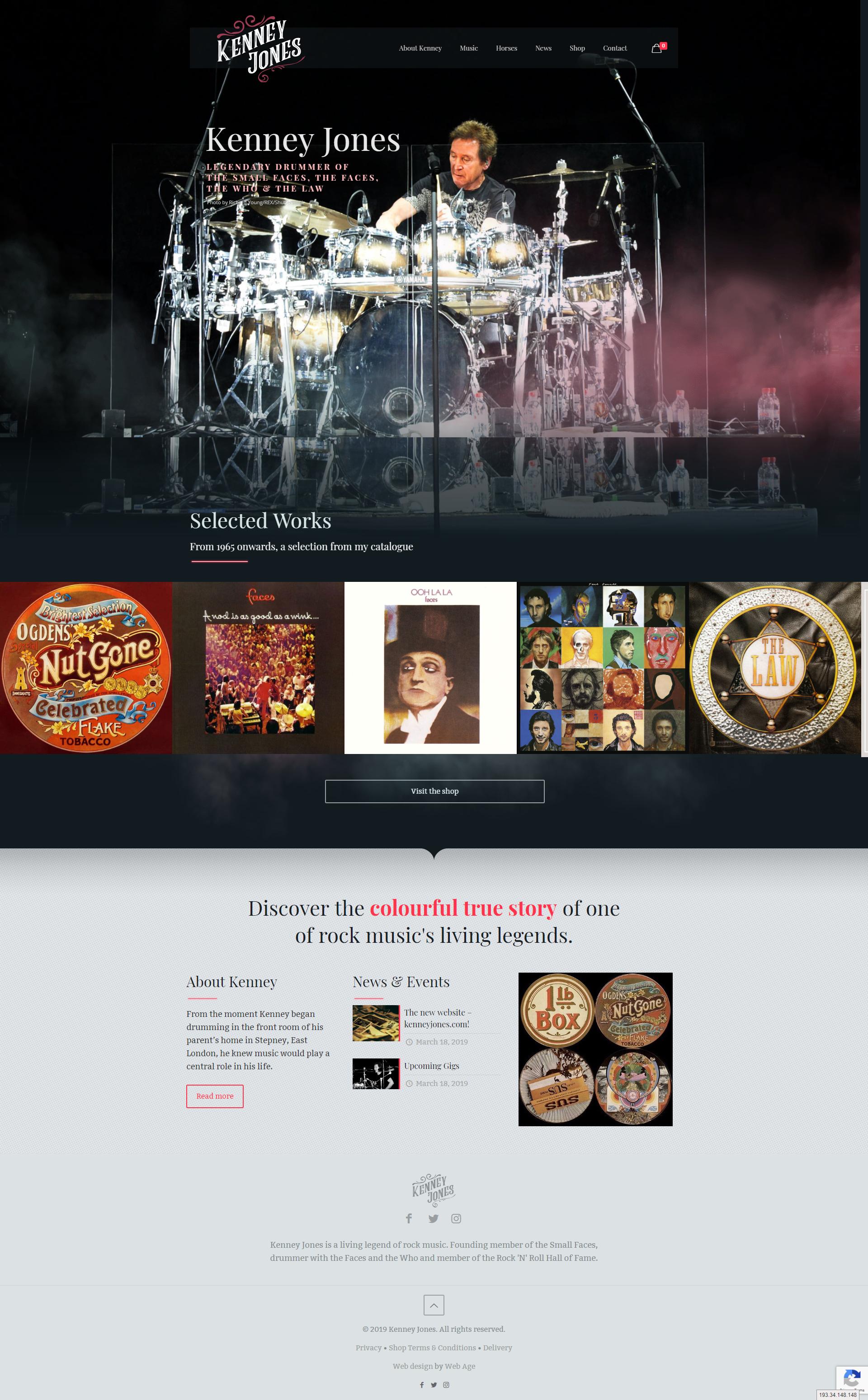 Web Design for Musician Kenney Jones