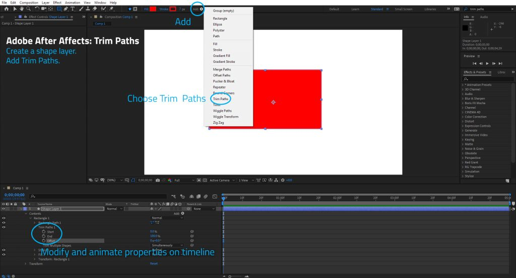 Where is Trim Paths in Adobe After Effects?