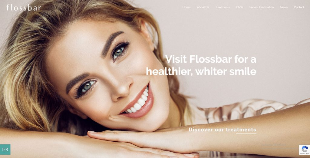 Flossbar website - dental hygienist and tooth whitening service