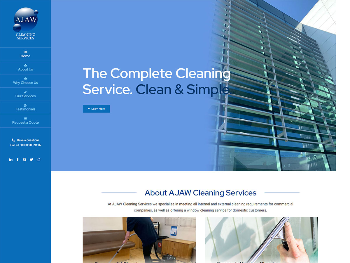 AJAW Cleaning Services WordPress Development