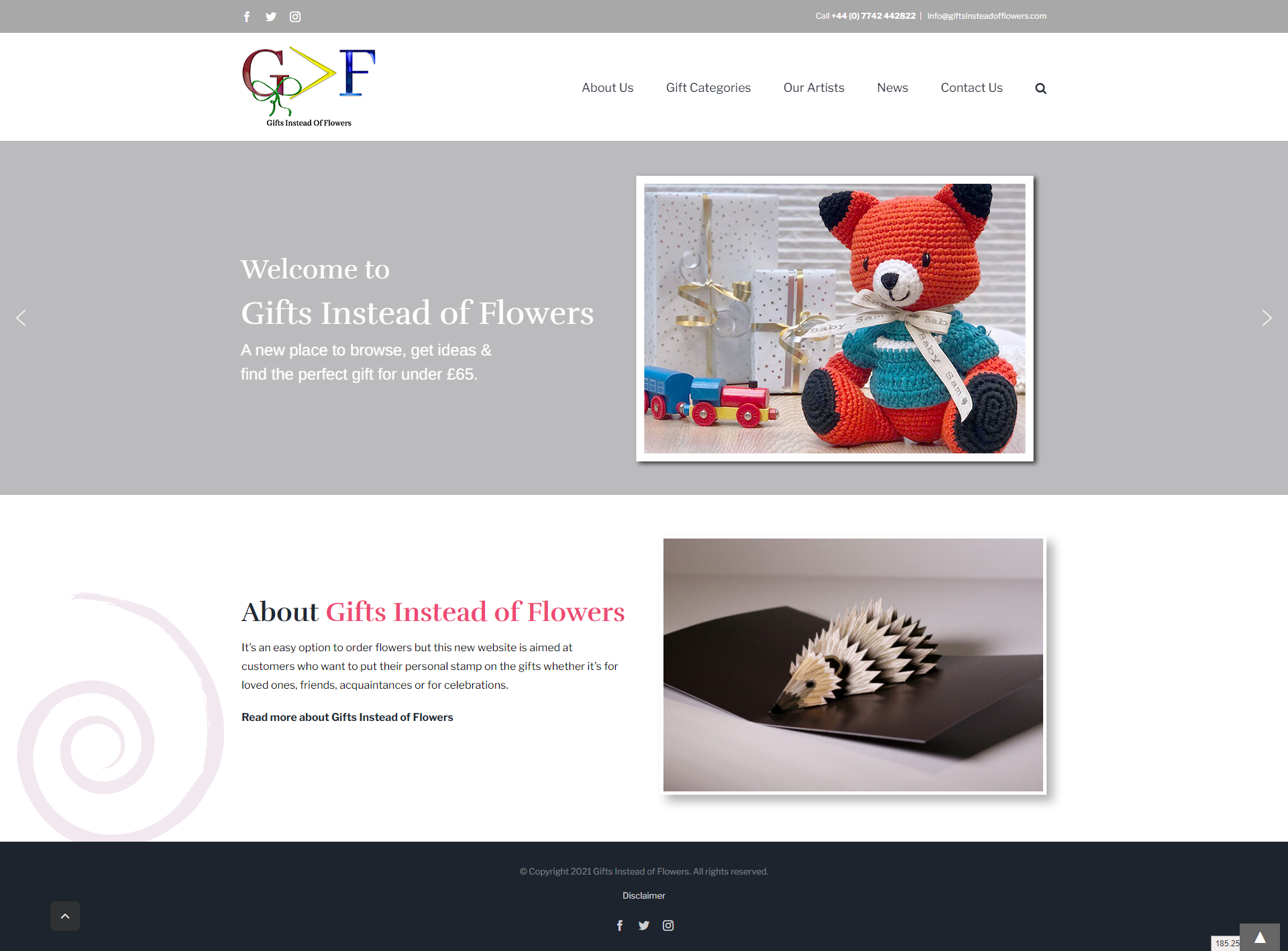 Gifts Instead of Flowers website